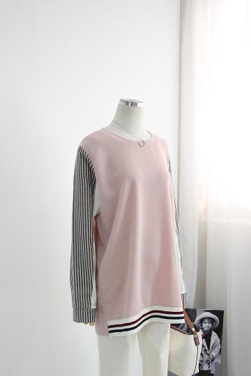 테르 소매 스트라이프 티셔츠 BSI515