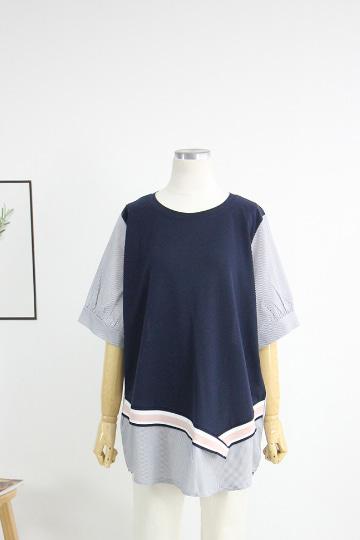 스트라이프 배색 라운드넥 티셔츠 BSI552