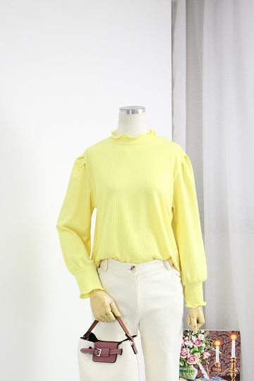 슈렌느 퍼프소매 골지 티셔츠 GOA1081