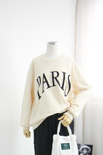 [교환반품불가] 파리 자수 쭈리 맨투맨 티셔츠 LV1377