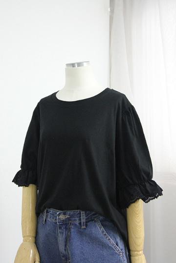 큐티 프릴소매 라운드넥 티셔츠 LV1407