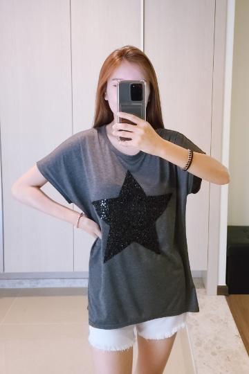 별 스팽글 반팔 티셔츠 MN1263