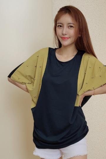 진주 배색 가오리 반팔 티셔츠 MN1265