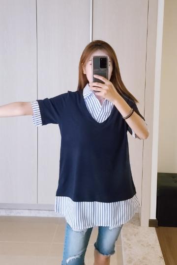 스트라이프 배색 카라 반팔 티셔츠 MN1266