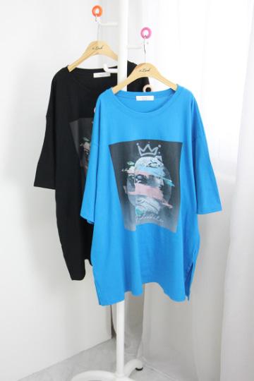 퀸 라운드넥 반팔 티셔츠 OKI515