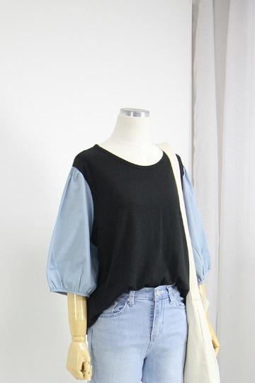파인 퍼프소매 배색 티셔츠 QZ1022