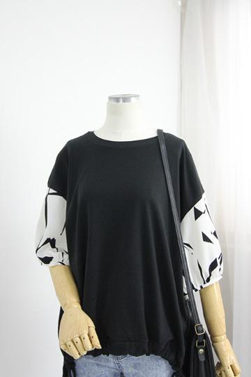 케스린 배색 퍼프소매 티셔츠 TTG1122